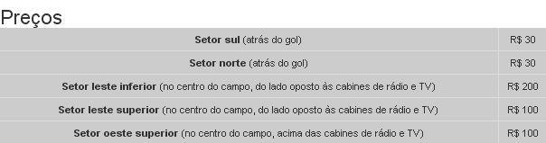 Preços dos ingressos de Brasil x Bolivia no Engenhão - clique na imagem para reportagem do Globoesporte.com