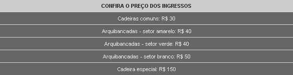 Preços dos ingressos de Brasil x Colômbia no Maracanã - clique na imagem para reportagem do Globoesporte.com