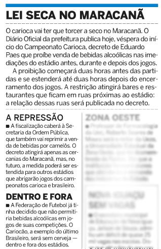 Publicado no jornal O Dia em 23 de janeiro