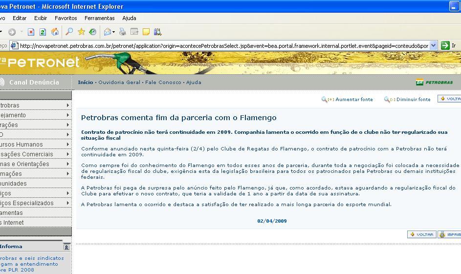 Petrobras lamenta o ocorrido