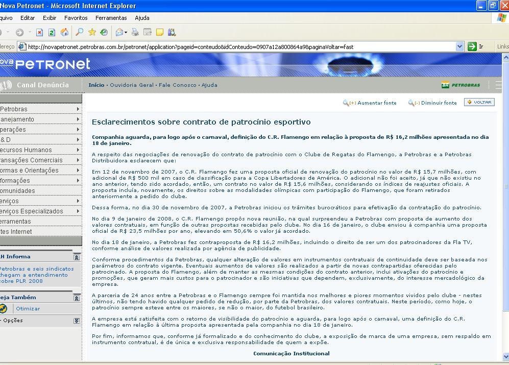 Nota da Petrobras