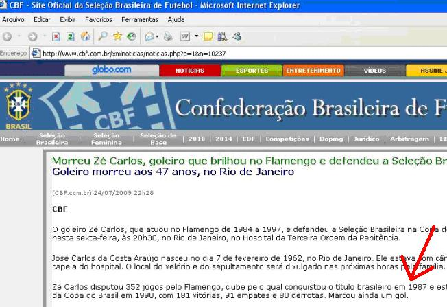 CBF ratifica Fla campeão 1987