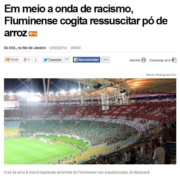 Bizarra manchete Uol Esporte cavando racismo