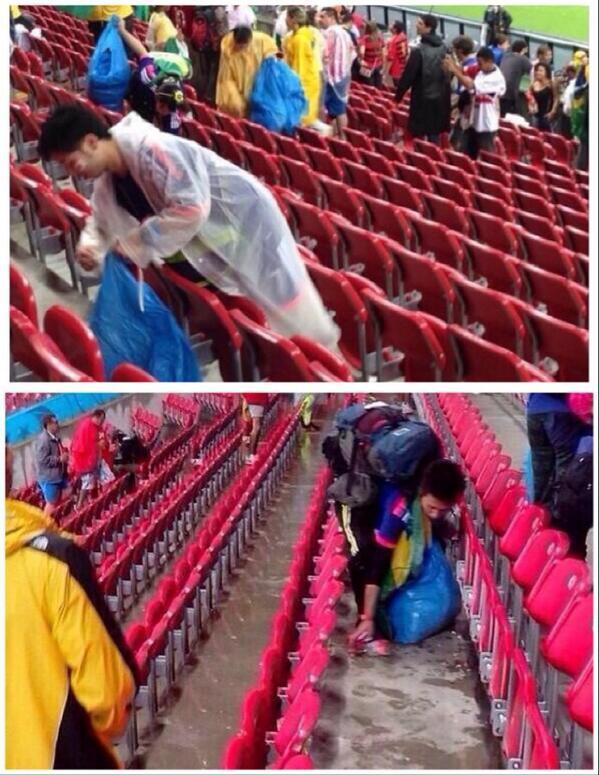 Japoneses limpando